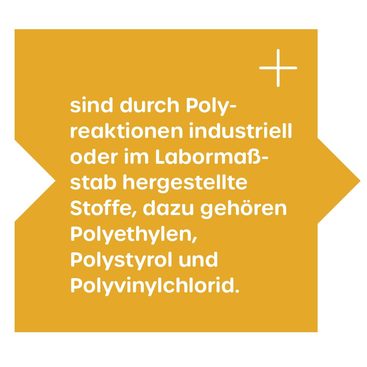 Kunststoffe sind aus Polyreaktionen entstanden