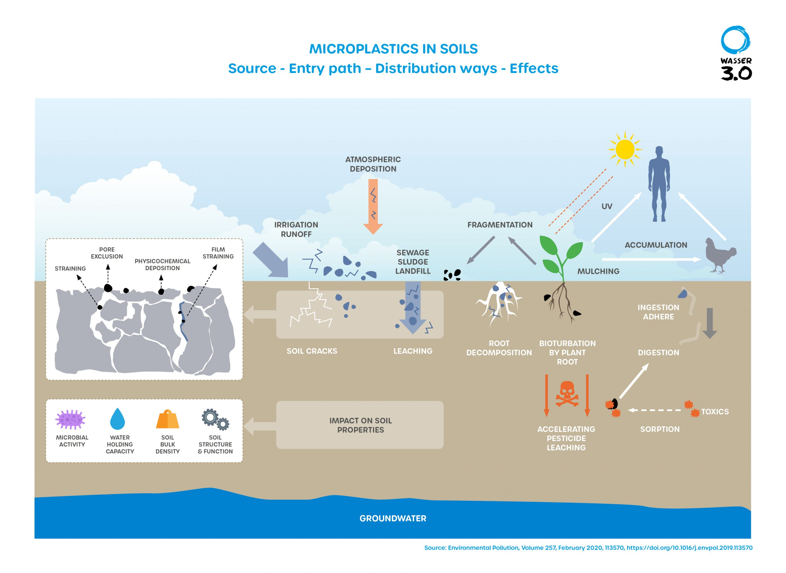 Microplastics in soils - sources, entry paths, distribution routes.