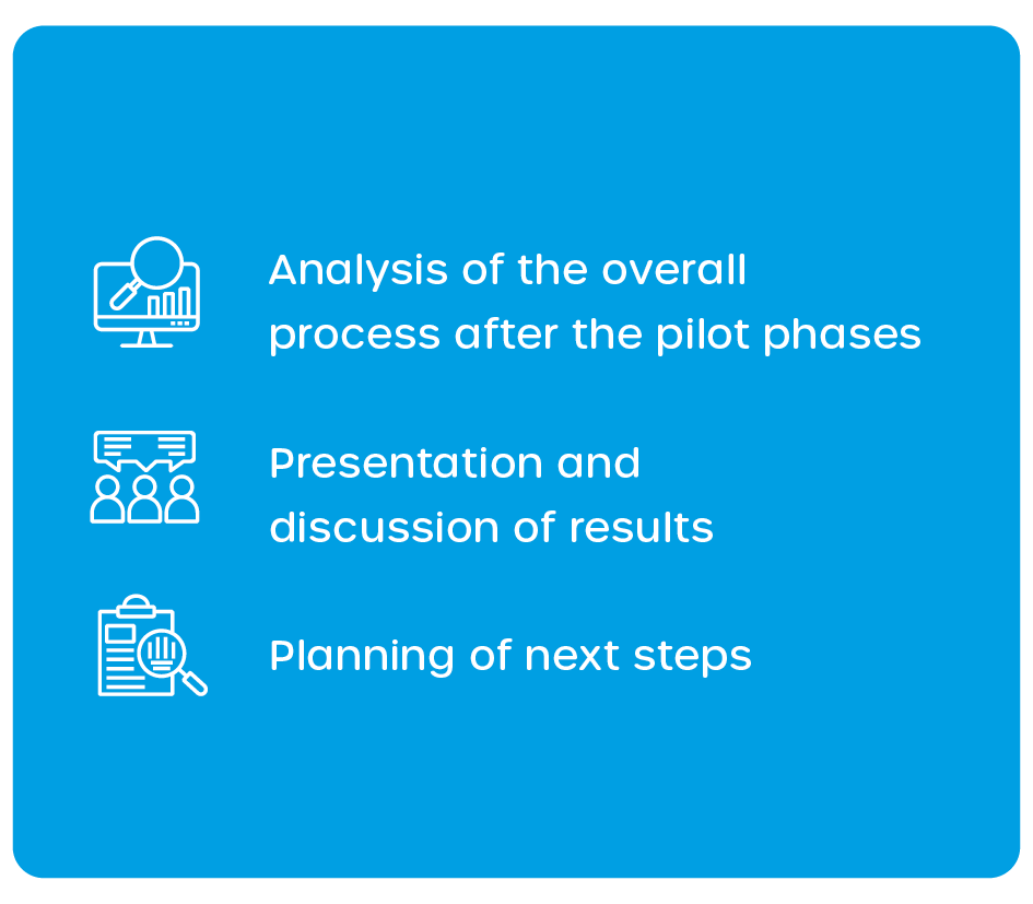 Step 5: Anaylsis of the ovreall process after the pilot trial. Presentation and discussion of the results