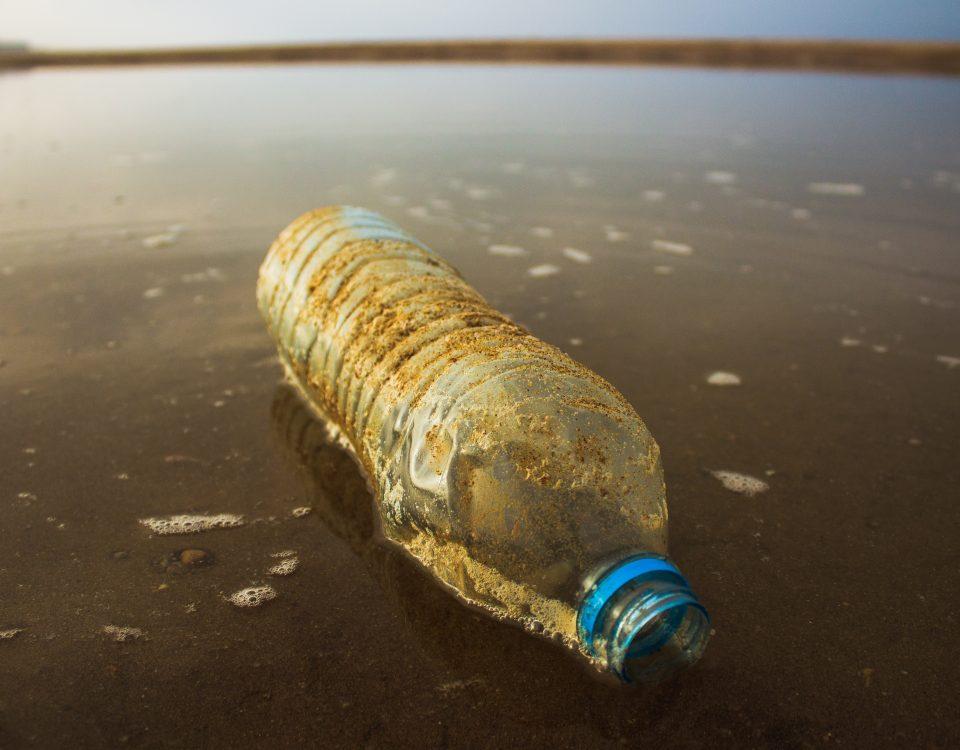 bottle in sea water